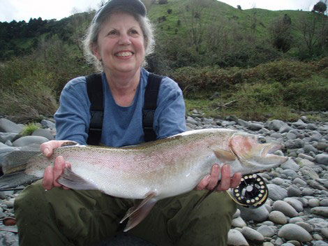 Ruth Zeller from Cape Cod, USA- landed this top condition rainbow trout.