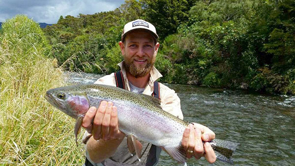 Jamie holds a nice Tongariro River Rainbow Trout